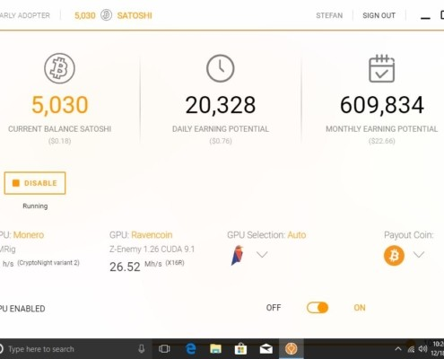 Cudo Miner - a beta Bitcoin mining software for Windows and Mac