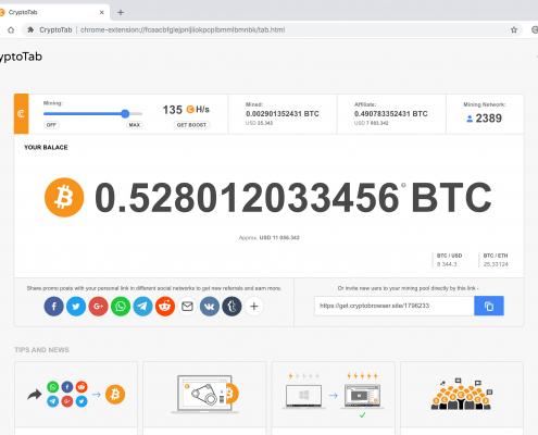 CryptoTab Browser mining - light theme