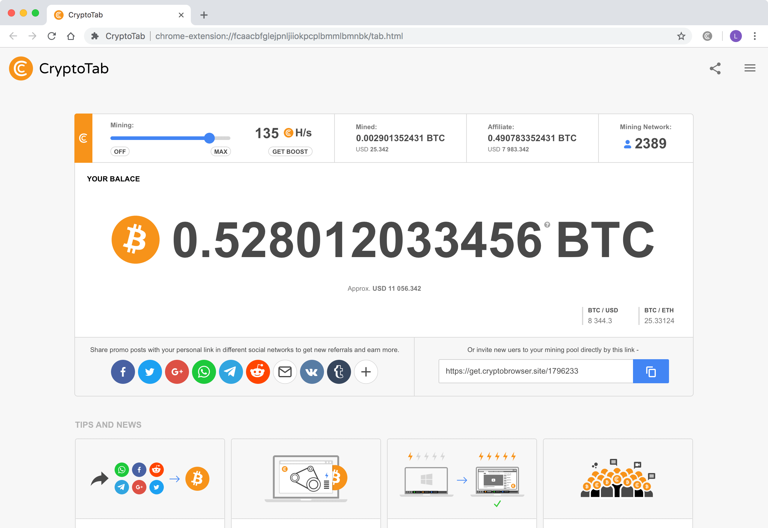 CryptoTab Browser mining - light theme